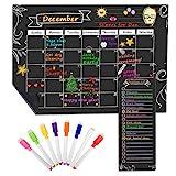 MoKo Calendario Magnético para Refrigerador de Cocina, 16.73' x 12' Planificador de Calendario Mensual y Lista de Compras con Borra Seca y 8 Marcadores de Tiza para Hogar, Oficina y Regalo - Negro