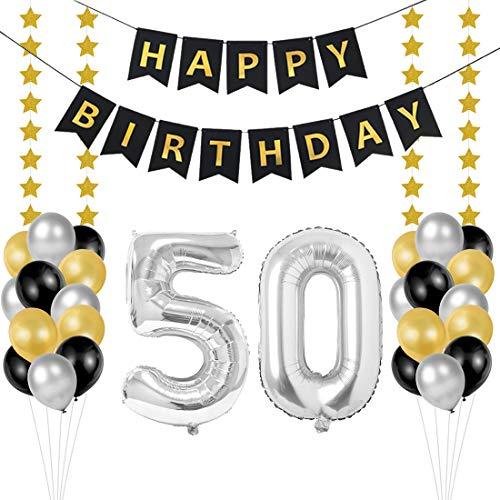 Globos 50 Cumpleaños, decoracion 50 años, Happy Birthday Bandera Feliz Cumpleaños 50 Años, Número 50 Globos de Papel Plata para Hombres y Mujeres Adultos Oro Negro Decoración de Fiesta