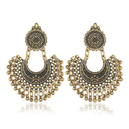 LXESWM Boheemse oorbellen mode kroonluchter oorbellen hangers voor vrouwen Indiase oorbellen sieraden etnische vintage kwast licht (EIN paar oorbellen)