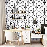 LIKE SHOP Black White Wallpaper,Modern Cube Pattern,PVC Vinyl Home Wall Decorative Wallpaper for Living Room,Bedroom,Bathroom,20.86'x31.16ft (Black White-3)