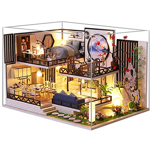Amagogo Casa de muñecas de Madera en Miniatura de Bricolaje con Juego de Muebles Casa de Campo con Cubierta a Prueba de Polvo Fantasía para niños Festival de