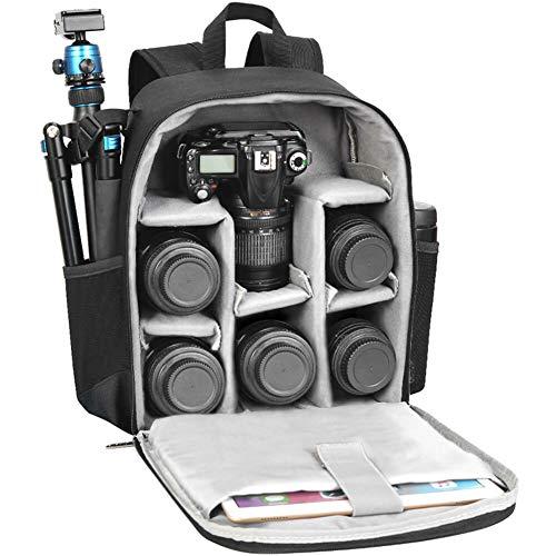 CADeN Kamerarucksack Camera Backpack Wasserdicht Kameratasche Fotorucksack Kompatibel mit Sony Canon Nikon und 1/2 DSLR 5 Objektiv Stativ Zubehör (Schwarz)