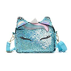 Unicorn Blue Sequins Crossbody Shoulder Bag