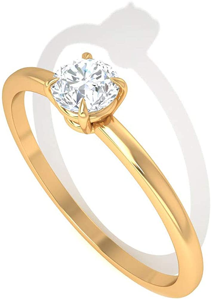 Custom 1/4 CT Solitaire Certified Diamond Engagement Ring, Prong HI-SI Diamond Wedding Anniversary Ring, Unique Birthday Bridal Matching Promise Rings, 14K Gold