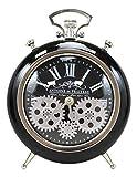 Ebros Antoine De Praiteau Steampunk Mechanical Moving Gears Old Fashioned European Vintage Style Table Clock Victorian Industrial Accent Fantasy Metal Clockwork Gearwork Clocks (Shiny Black)