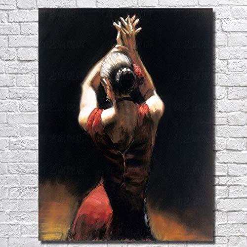 Enkele handgeschilderde olieBallerina huishouden versiering foto van Amerikaanse abstracte kunst muur Canvas50CMX60CM