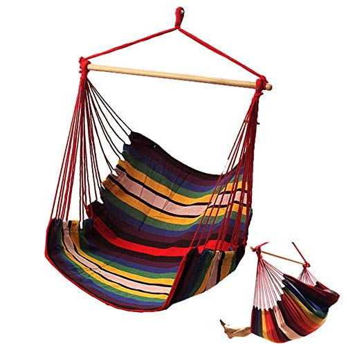Caishuirong Travel Hammock Quick Drying Indoor Outdoor Cotton Swing Cushion Seat Garden Patio Hanging Thicken Hammock Chair For garden or camping (Color : Colorful, Size : 135x90cm)