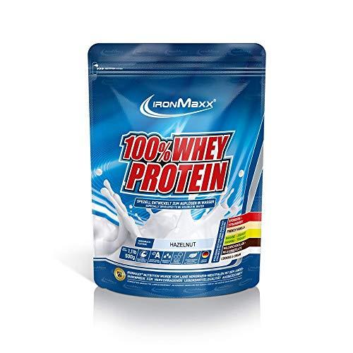 IronMaxx 100% Whey Protein – Whey Haselnuss Eiweißshake – Wasserlösliches Proteinpulver mit Haselnuss Geschmack – 1 x 500 g Beutel