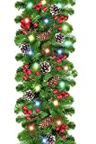 TURNMEON 9 Foot by 10 Inch Christmas Garland with Lights,Christmas Decoration with 50 Color LED 18 Pinecones 18 Berries Battery Operated Xmas Wreath for Indoor Outdoor Fireplace Decor (Colorful)