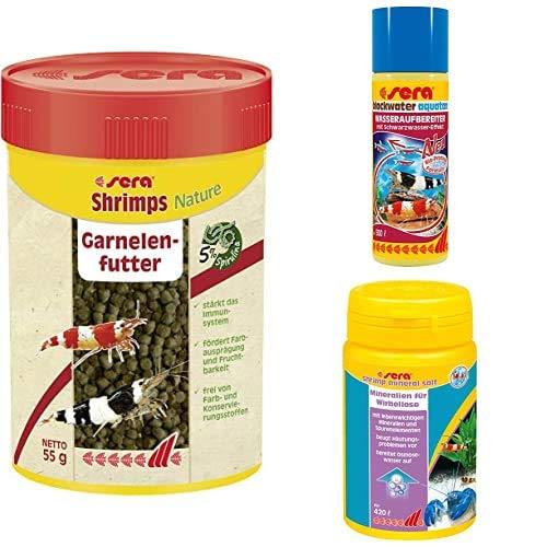 sera Bundle Garnelen bestehend aus Shrimps Nature 100 ml, Blackwater Aquatan 100ml & Shrimp Mineral Salt 105g