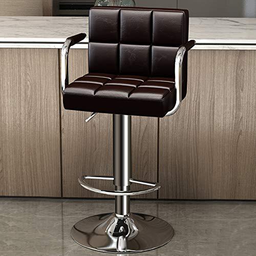 Barstolar,Barnstol med väl stoppad ryggstöd,Frukost barstol Counter Kitchen Swivel Chair,Justerbar höjd och 360 ° rotationsstolar,Brown,44×38×56cm