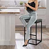 MAISON ARTS Bar Height Bar Stool 30 Inches for Kitchen Counter Backless Industrial Stool Modern Upholstered Barstool Countertop Saddle Chair Island Stool,330 LBS Bear Capacity,1 Stool (30 Inch, Grey)