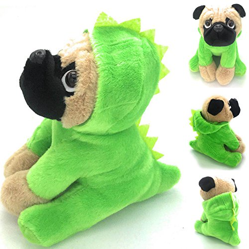 JoyAmigo Pug Stuffed Animal Plush Dog Puppy Soft Cuddly Toy in Costumes Dressed As Dinosaur - Super Cute Quality Teddy Plush 10 Inch