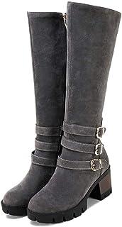 Botas de Invierno para Mujer Hebilla Casual Zapatos de Plataforma con Cremallera y Punta Redonda Felpa cálida Antideslizan...