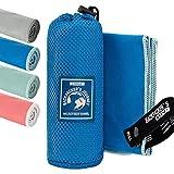 Backpacker's Journey Mikrofaser Handtücher in S M L XL. Reisehandtuch Sets leicht, schnelltrocknend, saugfähig und antibakteriell (blau L&M)