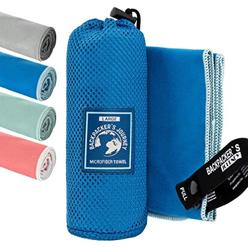 Backpacker's Journey Mikrofaser Handtücher in S M L XL. Reisehandtuch Sets leicht, schnelltrocknend, saugfähig und antibakteriell (blau L)