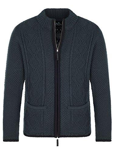 Almbock Strickjacke anthrazit - Strickjacke XL mit Reißverschluss - Herren Trachten Jacke in Anthrazit Größe XL
