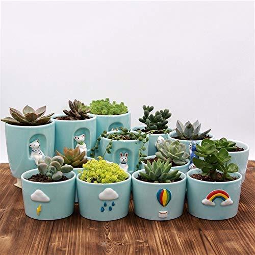 WBFN Set van 13 prachtig handwerk bloem stijl Keramiek, 8,5 cm Succulent Cactus Plant Pot, Pretty Desktop Vensterbank Landschap Bloempot, Binnenlandse Zaken Decor Potten, Simple Idee van de Gift