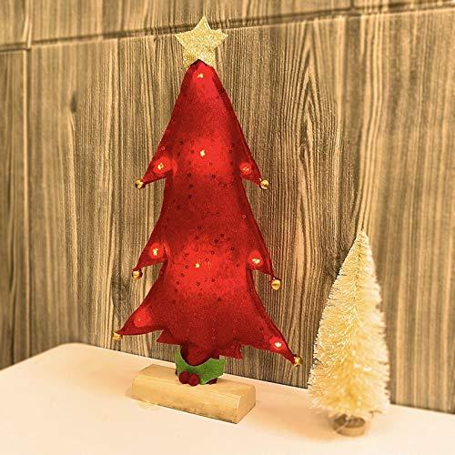 KEAIDO Lámpara de árbol de Navidad preiluminada de 33 cm con luz LED, decoración de escritorio de Navidad para fiestas de temporada (rojo)
