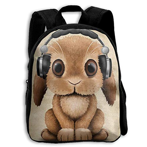 YEGFTSN Headphone Bunny School Backpack Bookbag for Kids Boys Girls