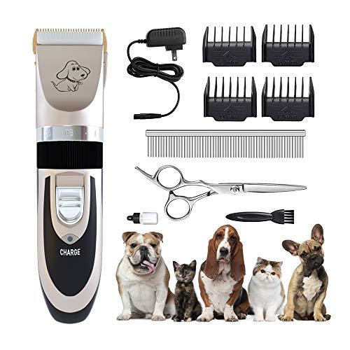 YAOJU Maquina Cortapelo para Perros,Cortapelos para Animales Profesional Perros,Maquinillas para Higiene para Gatos,Recargables Ultra Silenciosos Gatos Timmer para Mascotas Pequeñas Medianas y Grande