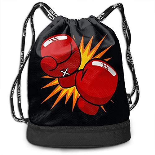 DJNGN Kordelzug Rucksack Tasche Sport Sporttasche Schule Sackpack für Männer Frauen Kinder, Boxhandschuhe