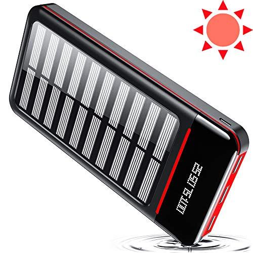 TSSIBE Powerbank Solar 25000mAh Tragbares Ladegerät Solarladegeräte mit Dual Eingangsports und 3 USB Ausgängen, Digitalanzeige hohe Kapazitäts Externer Akku für Das Tablettes, Smartphones-Rot