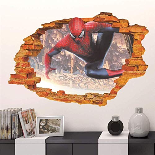 Pegatinas de pared 60x90cm 3D pegatinas de pared Spiderman Marvel Super Hero Avengers murales Adhesivos Papel pintado del cartel de película auto adhesivo for habitaciones de niños Decoración for el H