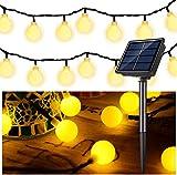 Guirnalda Luces Exterior Solar, GLURIZ 50LED Cadena de Luces bolas led decorativas, Impermeable 8 Modos, Guirnaldas Luminosas para Exterior,Interior,Jardines Fiesta de Navidad-Blanco Cálido