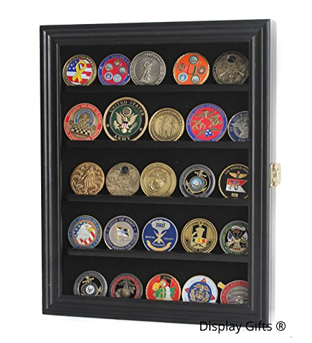Military Challenge Coin Display Case Cabinet Medal Rack Holder Shadow Box (Black)