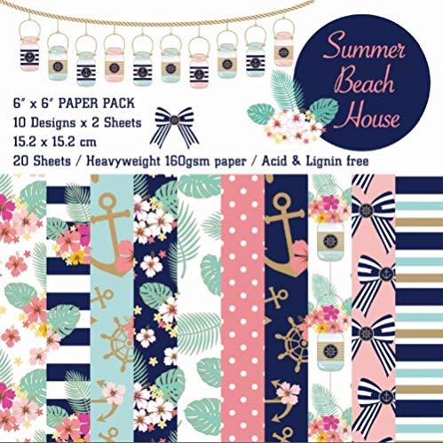 Casa de playa de verano de bricolaje paquete de papel de Scrapbooking de 20 hojas artesanales de papel hecho a mano papel Fondo PadA1405