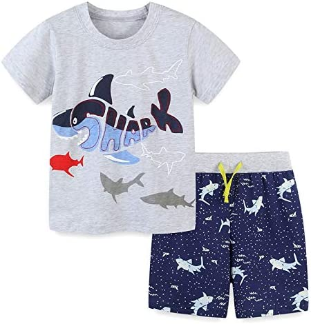 Toddler Boys Short Sets Summer Outfits Cotton Casual Crewneck Grey Fish Short Tee Shirt Knite product image