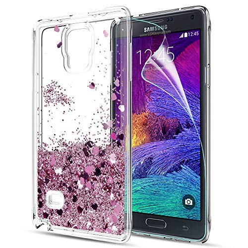 LeYi Compatible con Funda Samsung Galaxy Note 4 Silicona Purpurina Carcasa con HD Protectores de Pantalla,Transparente Cristal Bumper Telefono Gel TPU Fundas Case Cover Para Movil Note 4 ZX Oro Rosa