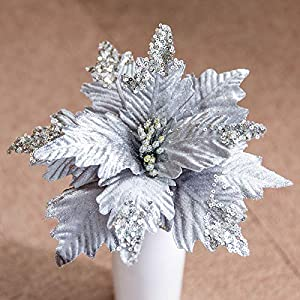 Worldoor Large Christmas Poinsettia 6pcs Artificial Flower Picks Spray for Christmas Tree Decoration Wreath Garland (Silver)
