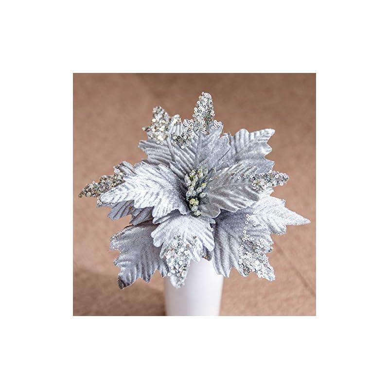 silk flower arrangements worldoor large christmas poinsettia 6pcs artificial flower picks spray for christmas tree decoration wreath garland (silver)