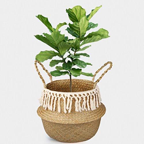 Naturkorb Seegras Korb Blumentopf Wäschekorb Pflanzer Beuteltasche mit Griff, Faltbarer Bauchkorb für Wohnzimmer Badezimmer (L - 32 x 28 cm)