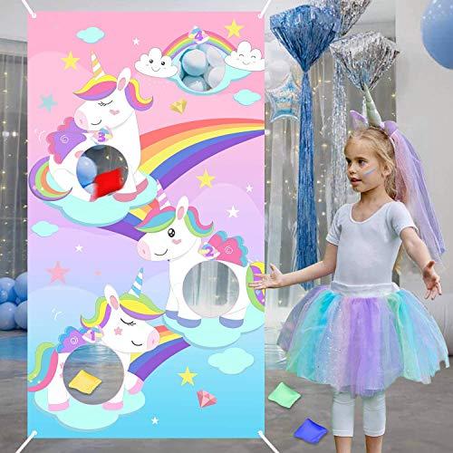 BeYumi Regenbogen Unicorn Bohne Tasche Toss Spiel mit 4 Bohnentaschen, Spaß Indoor Outdoor-Spiel für Kinder und Erwachsene, Einhorn Banner Party Dekoration liefert, Klasse Aktivität, Picknick-Zeit