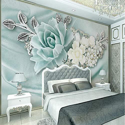 ZJfong 3D behang muurschildering 3D Mint groene sieraden parel olieverfschilderij bloemen bank slaapkamer woonkamer TV achtergrond muur 220x140cm