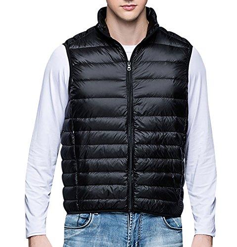 Panegy - Hombre Down Chaqueta Chaleco Simple Moda Mantener Caliente para Otoño Invierno Ropa de Hípica de Plumón Stand Collar Plegable Portátil - Talla XL/Rojo