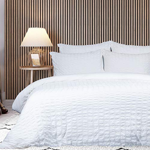 Twin Duvet Cover Set, Seersucker Textured Duvet Cover Set with Zipper Closure & Corner Ties, Soft Washed Microfiber Bedding Sets 3 Pieces (1 Duvet Cover 2 Pillowcases), 68x90 Inches, White