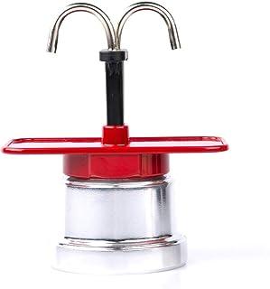 XuZeLii Mocha Pot Mocha Cafetera Uso En El Hogar Café Appliance Mini Aluminio Cafetera Espresso Coffee Pot Mocha Olla de Acero Inoxidable (Color : Red, Size : 2 Cup)