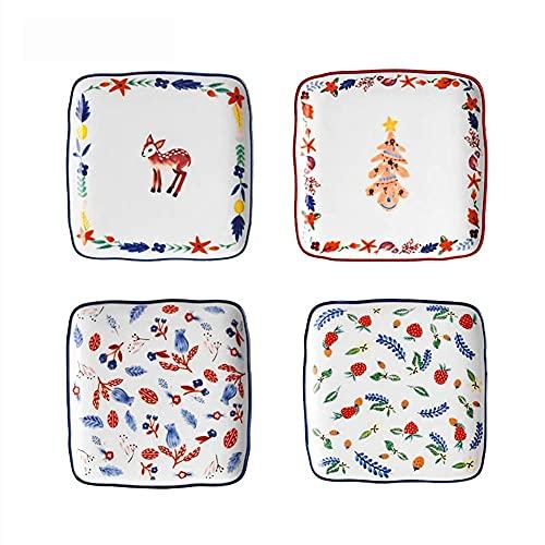 CCAN Juego de vajilla Fina, 4 Juegos de Platos Cuadrados para Postre, Platos Laterales para Cena, Juego de vajilla de cerámica Estampada a Mano para Regalo de Boda en casa, 15 * 15 cm (6 * 6