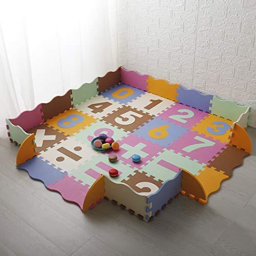 LUVODI Alfombras Puzzle Infantiles, 36 Piezas, Suelo de Espuma EVA para Bebés, con Números Sencillos y Bordes Versátiles (De Colores, 16 Piezas Grandes + 16 Piezas pequeñas + 4 Bordes )