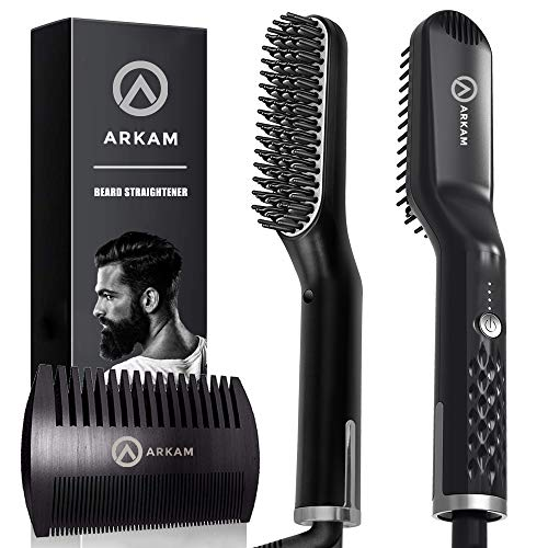 Arkam Premium Beard Straightener for Men - Cutting Edge Ionic Beard Straightening Comb, Heated Hair Straightener for Men, Beard Comb and Heated Beard Brush, Dual Action Fine Wooden Comb & Travel Bag
