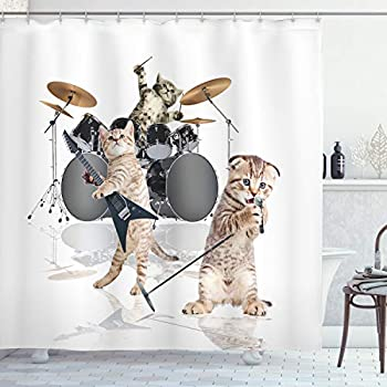 Ambesonne Animal Shower Curtain Cool Fancy Hard Cute Rocker Band of Kittens with Singer Guitarist Cats Artwork Print Cloth Fabric Bathroom Decor Set with Hooks 70  Long White Beige