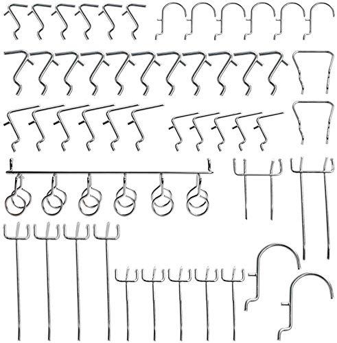 Vitasemcepli - Juego de 50 ganchos para paneles perforados - Ganchos metálicos...