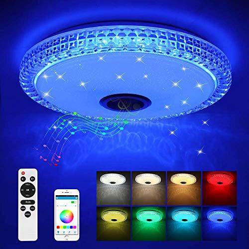 Plafonnier LED en Cristal avec Haut-Parleur Bluetooth, lumière RGB Dimmable 36W Plafonnier LED Musique avec Télécommande et Contrôle d'application pour Chambre à Coucher, Chambre d'enfants, Salon