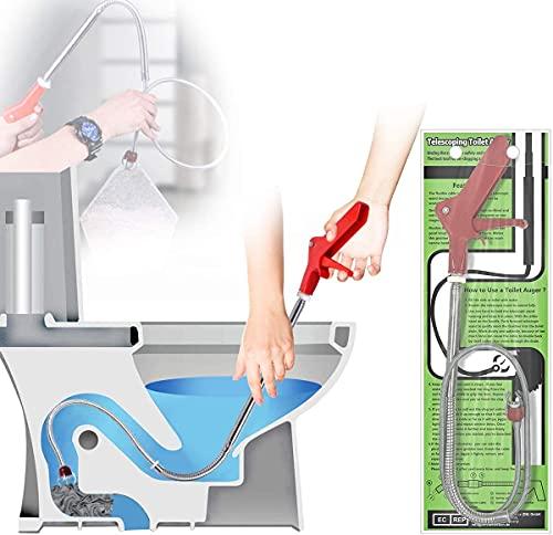 Aozzy 1.3m Furet Déboucheur Canalisation WC, Déboucheur à manivelle avec Griffe D'aigle - Débouchage canalisation Serpent de plombier idéal pour éliminer les débris et les sabots cheveux des drains