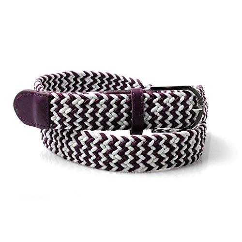 Accessoryo - blanc et violet ceinture tissé garni de cuir