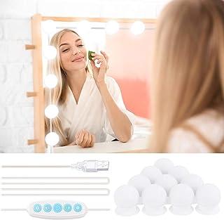 Klighten LED Luces de Espejo Maquillaje Regulables, Luces de Espejo Estilo Hollywood con 10 Bombillas, Brillo de 5 niveles Lámpara de Espejo, lámparas de maquillaje USB, blanco cálido/blanco frío
